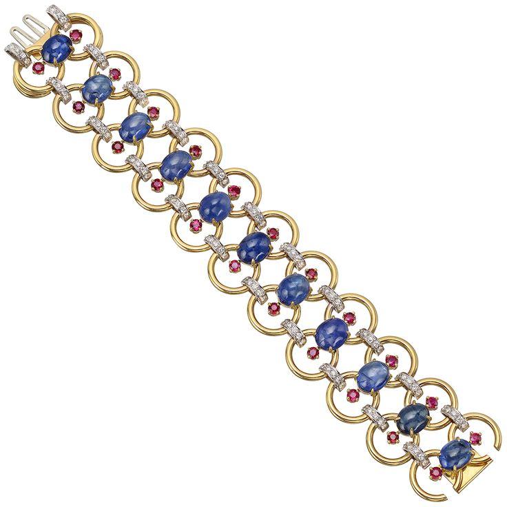 Estate Aletto Brothers 18k Gold & Gemstone Link Bracelet...