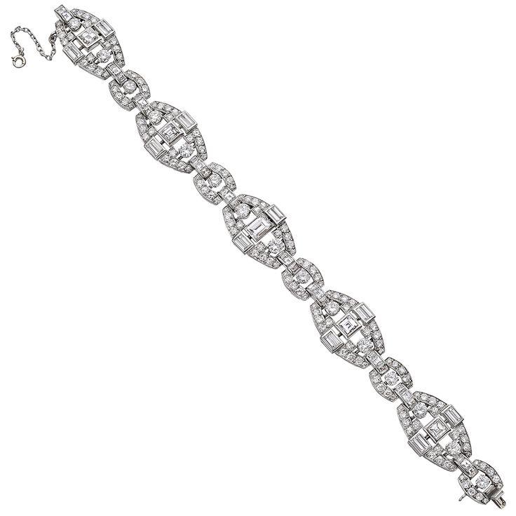 Estate Mauboussin Platinum & Diamond Panel Link Bracelet