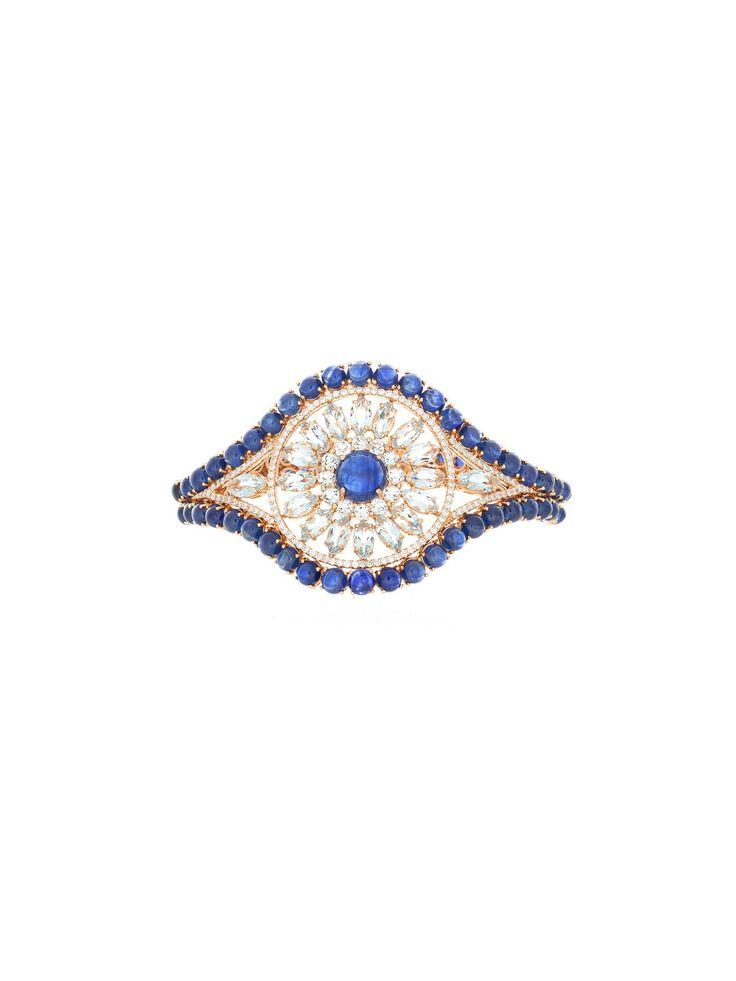 Etho 18k Sapphire and Diamond Open Flower Bracelet...