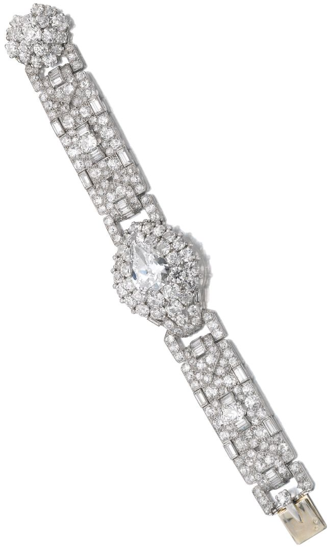 Important Art Deco diamond bracelet by Cartier, circa 1935. Set with one larger ...