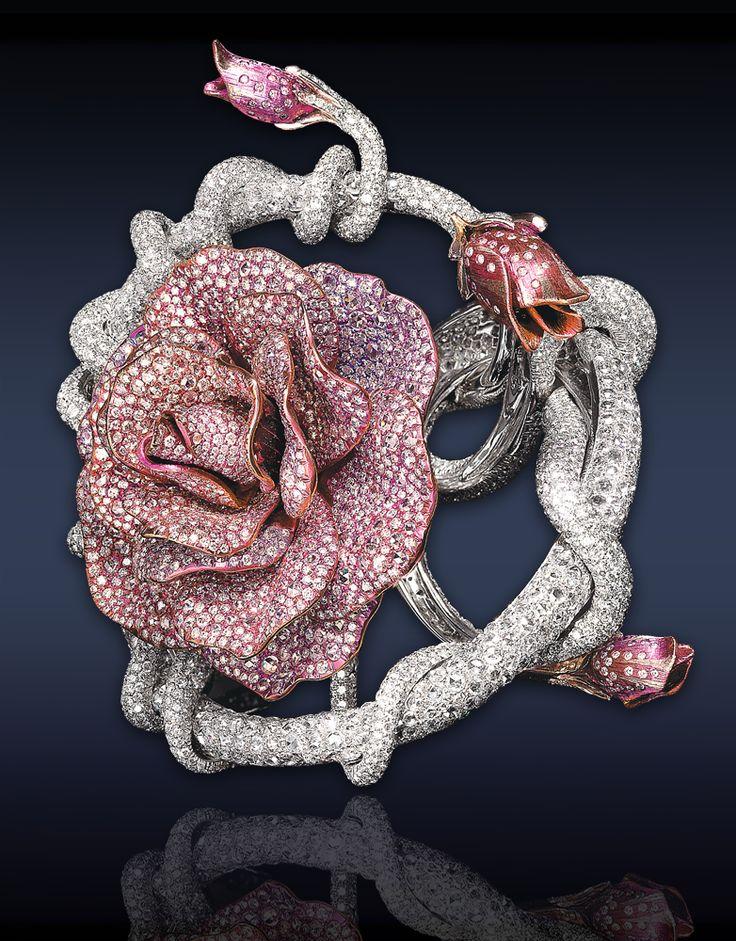 Jacob & Co pink rose cuff bracelet
