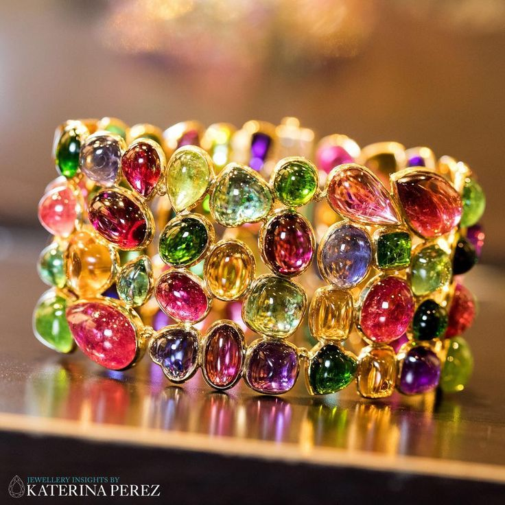 katerina_perezThe power of colour: how amaizing is this multi-gem #cuff #bracele...