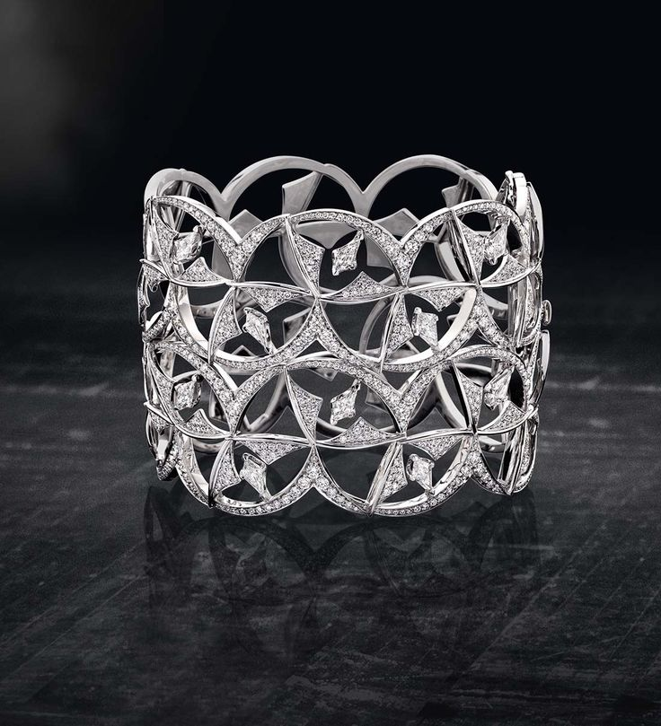 Kite Shape Diamond and Platinum Cuff...