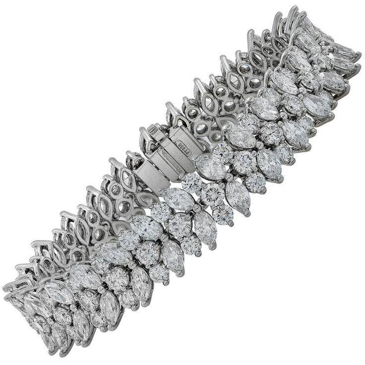 Magnificent Tiffany & Co, Platinum Marquise Diamond Cluster Bracelet. 10.80cts F...
