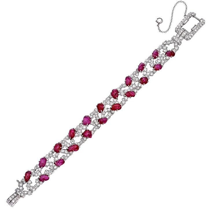 Mauboussin ruby and diamond Art Deco bracelet...