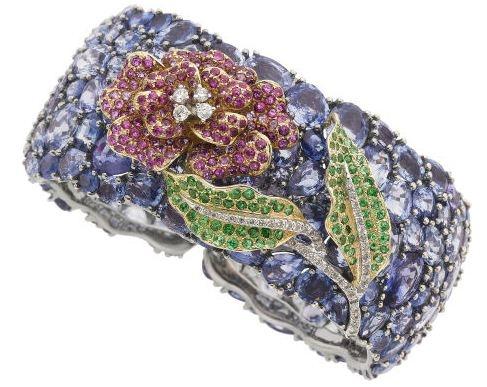 Pink & Blue Sapphire, Tsavorite Garnet, Diamond, Gold Bracelet...
