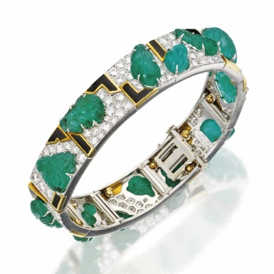 PLATINUM, 18 KARAT GOLD, EMERALD, DIAMOND AND ENAMEL BRACELET, DAVID WEBB...
