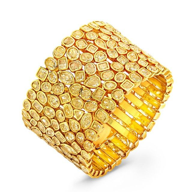 Rahaminov Diamonds Yellow Mosaic bracelet with Fancy Yellow mixed cut diamonds i...