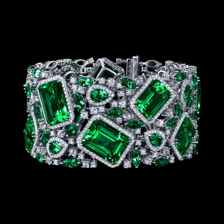 Robert PROCOP - Parisian Collection - Impressive Emerald and Diamond Deco Bracel...