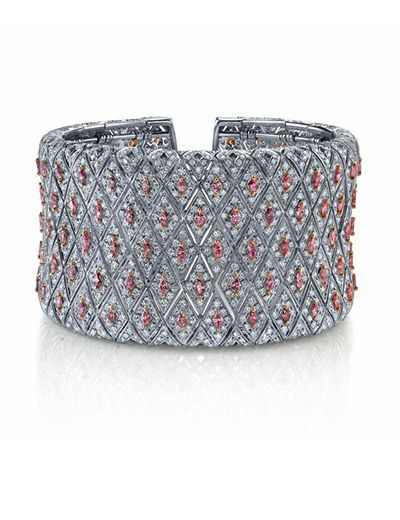 Rosamaria G Frangini | High Pink Jewellery | Pink and White Diamond Wide Cuff Br...
