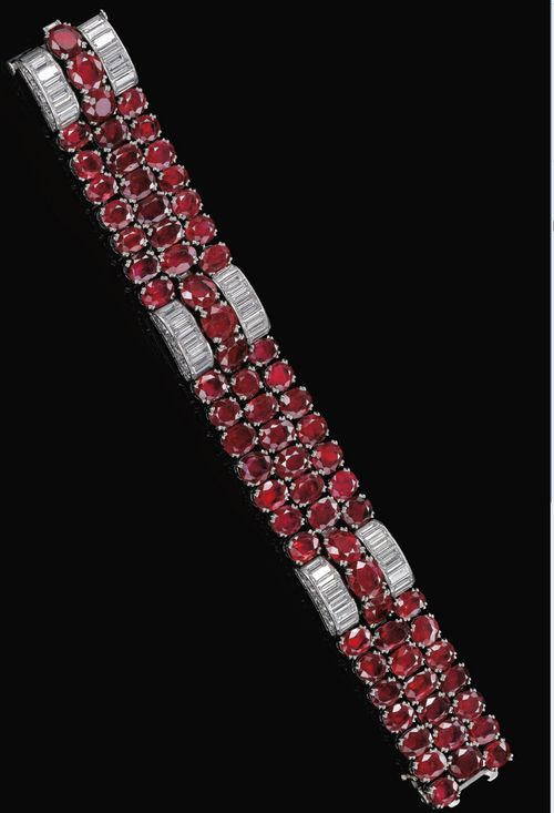 Ruby and Diamond Bracelet - c. 1940 - by Van Cleef & Arpels - oval and circular-...