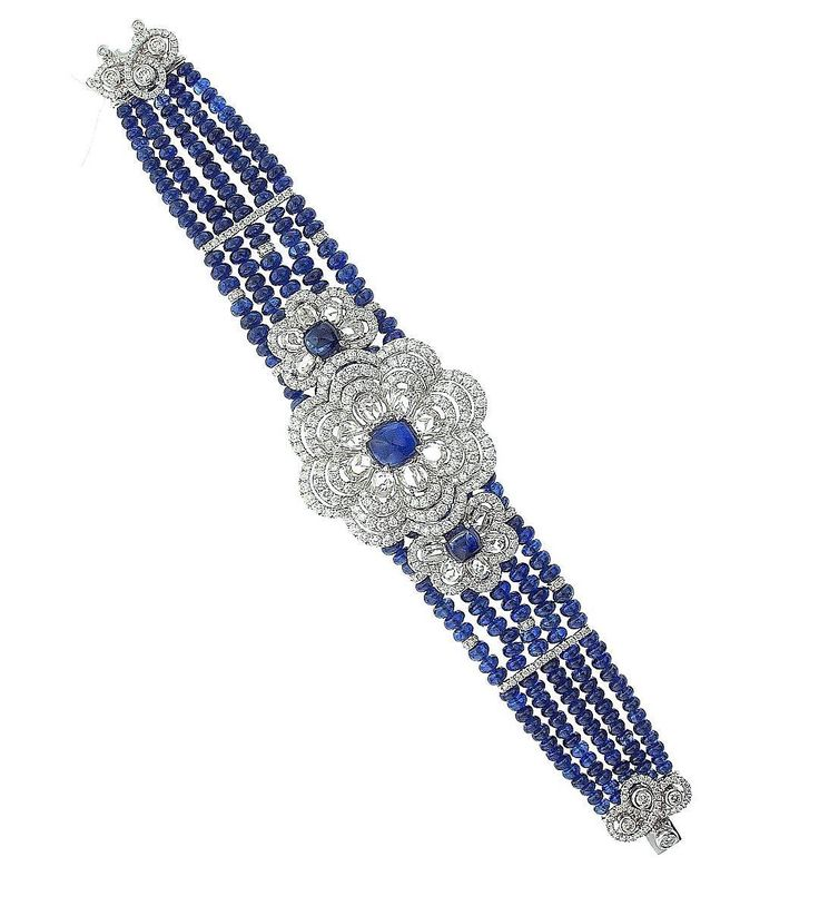 Schreiner Fine Jewellery - Handmade Haute Joaillerie Diamond and Sapphire Bracel...