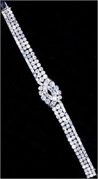 The Baguette and Brilliant Bracelet. Diamonds set in platinum from her father, K...