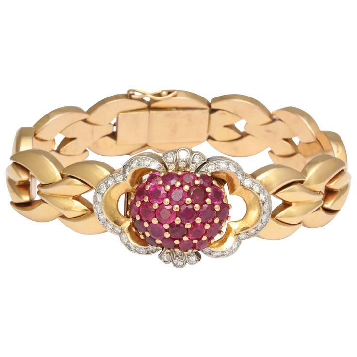 Tissot Lady's Yellow Gold Diamond Ruby Bracelet Wristwatch   From a unique colle...