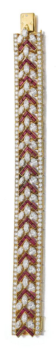 www.bkgjewelry.co... RUBY AND DIAMOND BRACELET, CARTIER. The open work band of c...