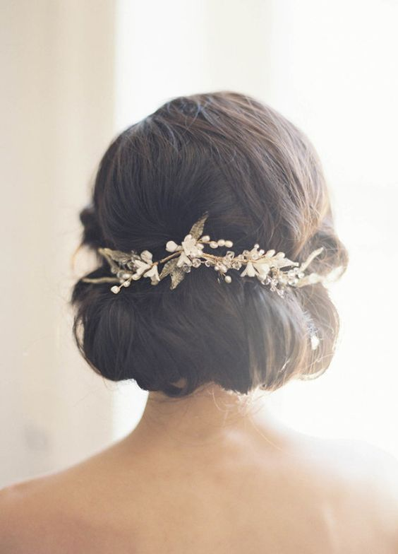 Low Updo Hairpiece Wedding Hairstyle - MODwedding