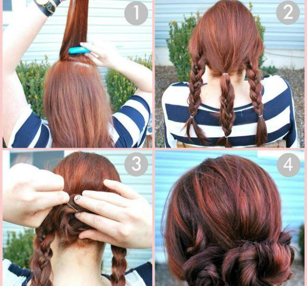10. Braided Bun | Be stylish and beautiful even when you cram to prepare for sch...