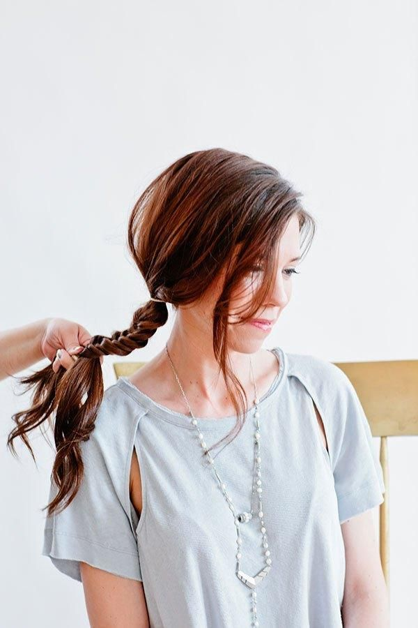 Bobby pin as hair accessory to update a boho fishtail braid - Full Tutorial Styl...