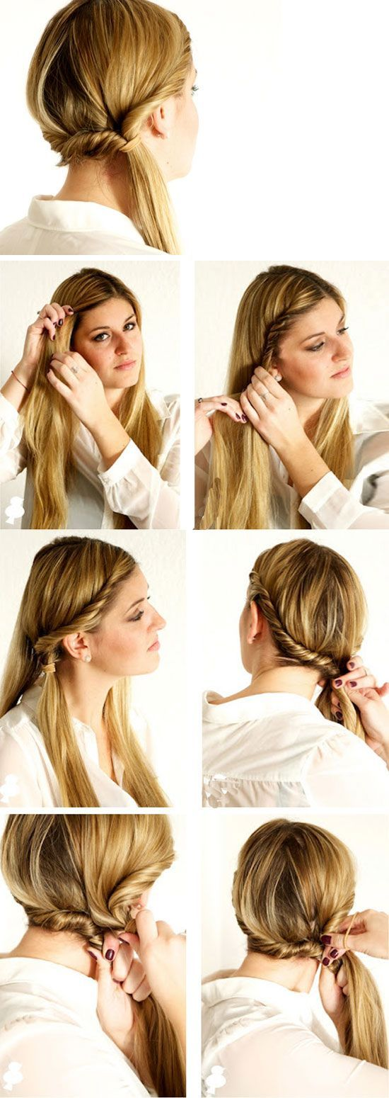 Doubletwisted #Ponytail #DIY No Heat #Hairstyles for Long #Hair