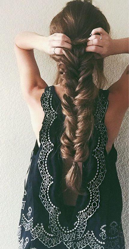 Fishtail braid for very long hair.