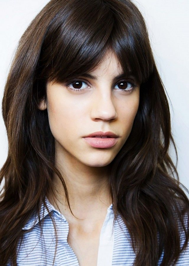 The perfect bangs for an oval shaped faced with a long forehead...