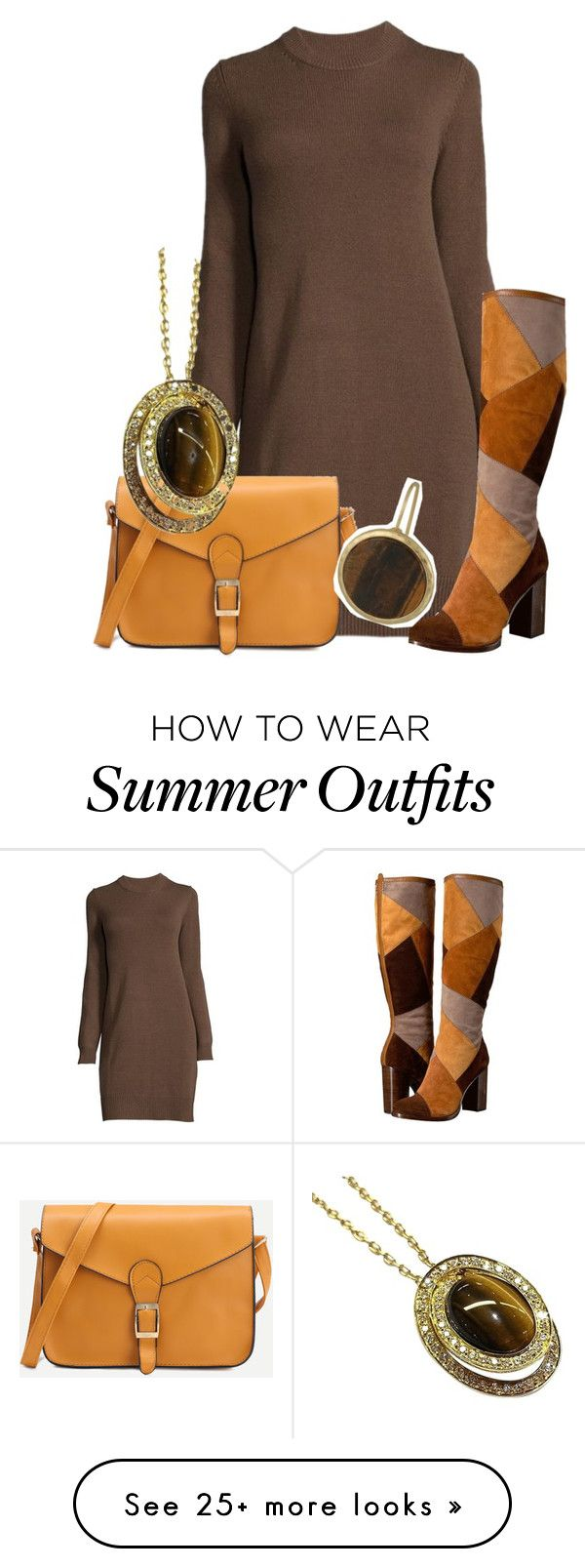 """Brown outfit only"" by jessica-alexander0913 on Polyvore featuring Fry..."