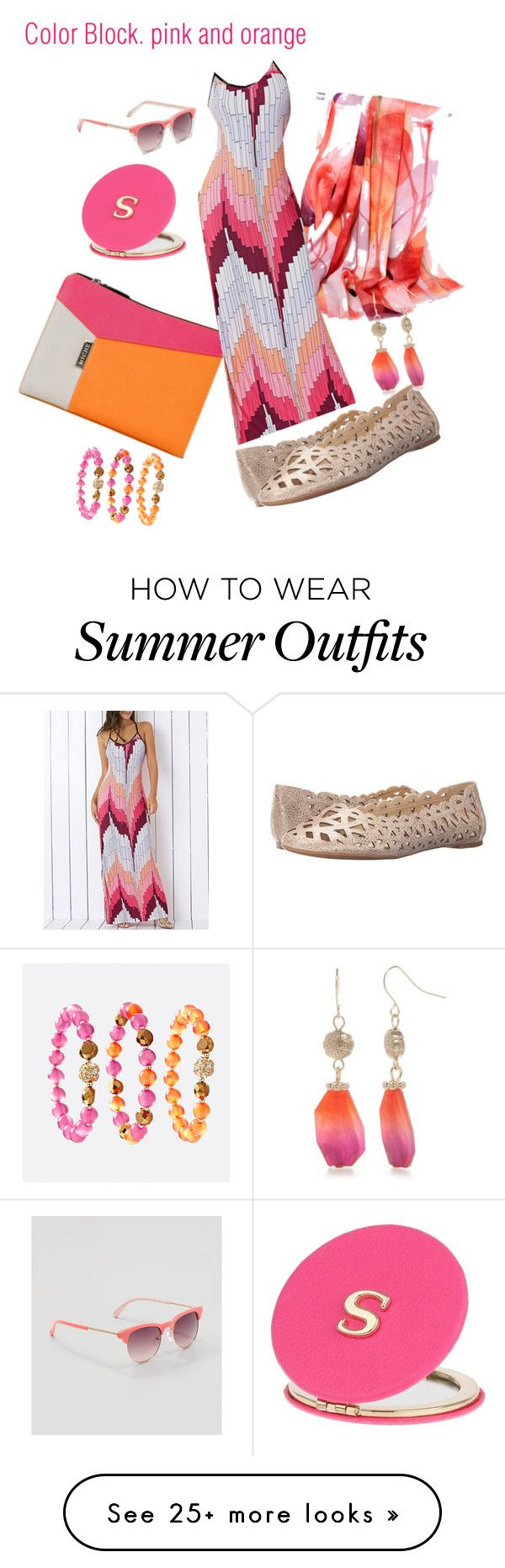 """""""color block. Orange and pink"""" by judyrstinson on Polyvore featuring N..."""