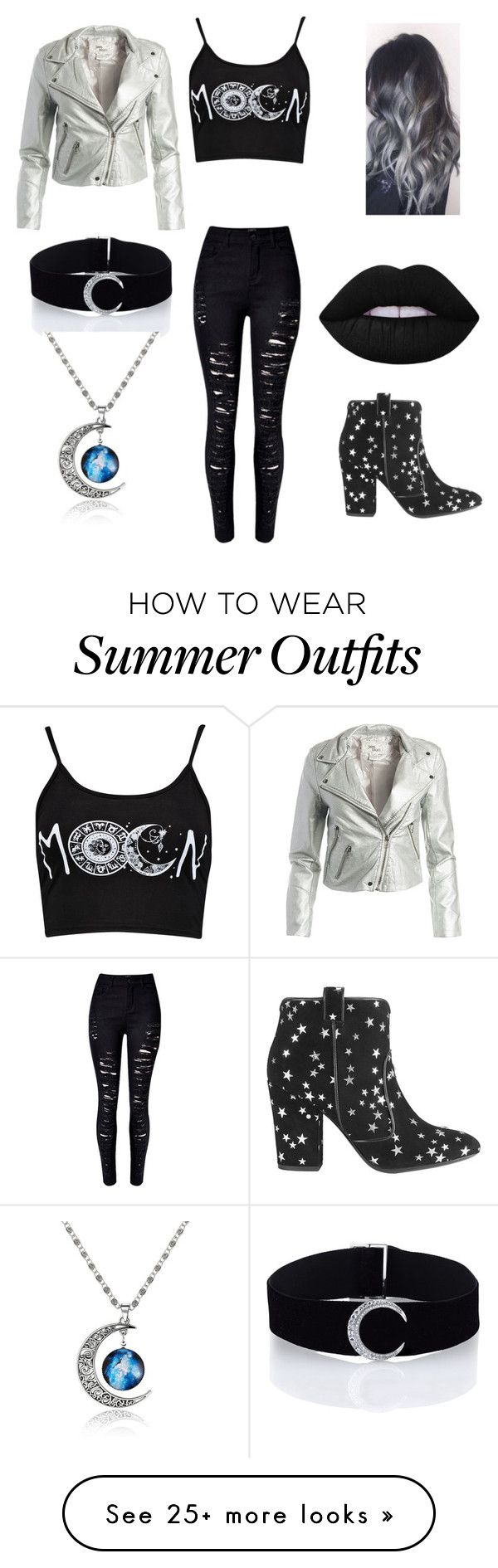 """""""Moon outfit"""" by barbaramark on Polyvore featuring Boohoo, WithChic, S..."""