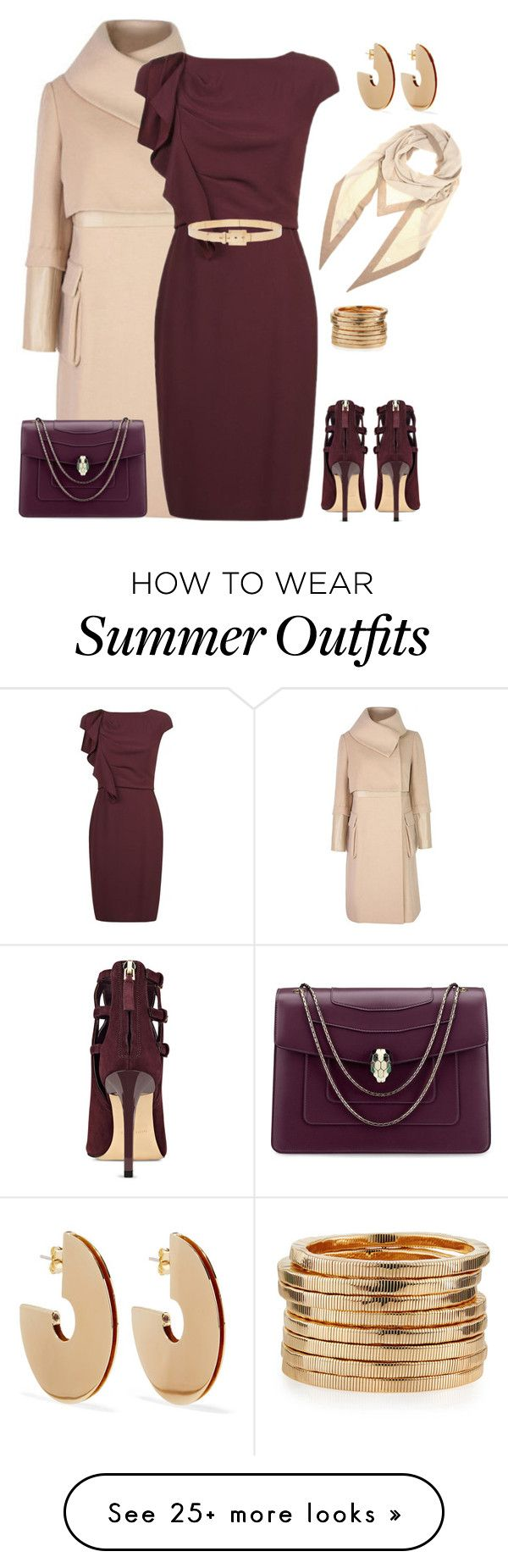 """outfit 4882"" by natalyag on Polyvore featuring MaxMara, Nine West, Bu..."