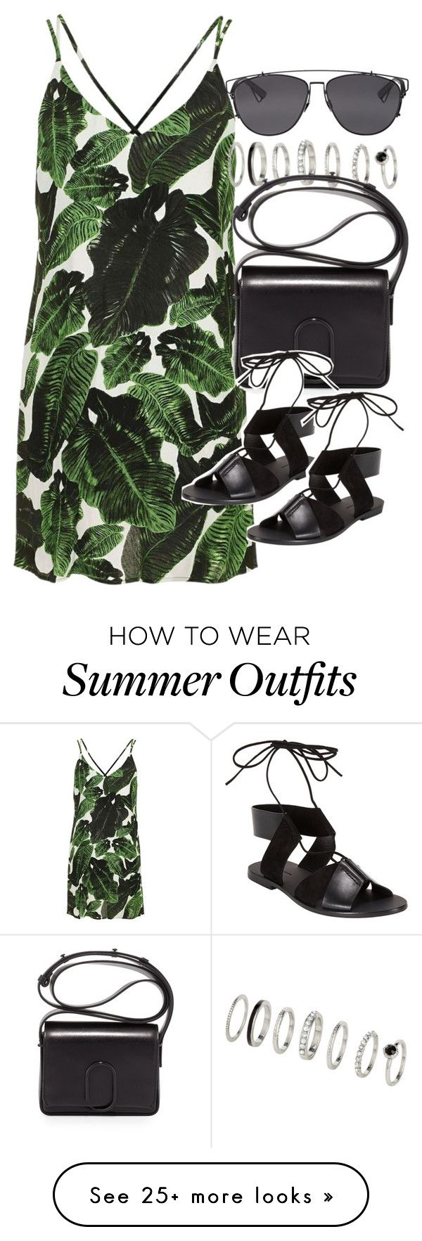"""Outfit for summer with a palm leaf dress"" by ferned on Polyvore featu..."