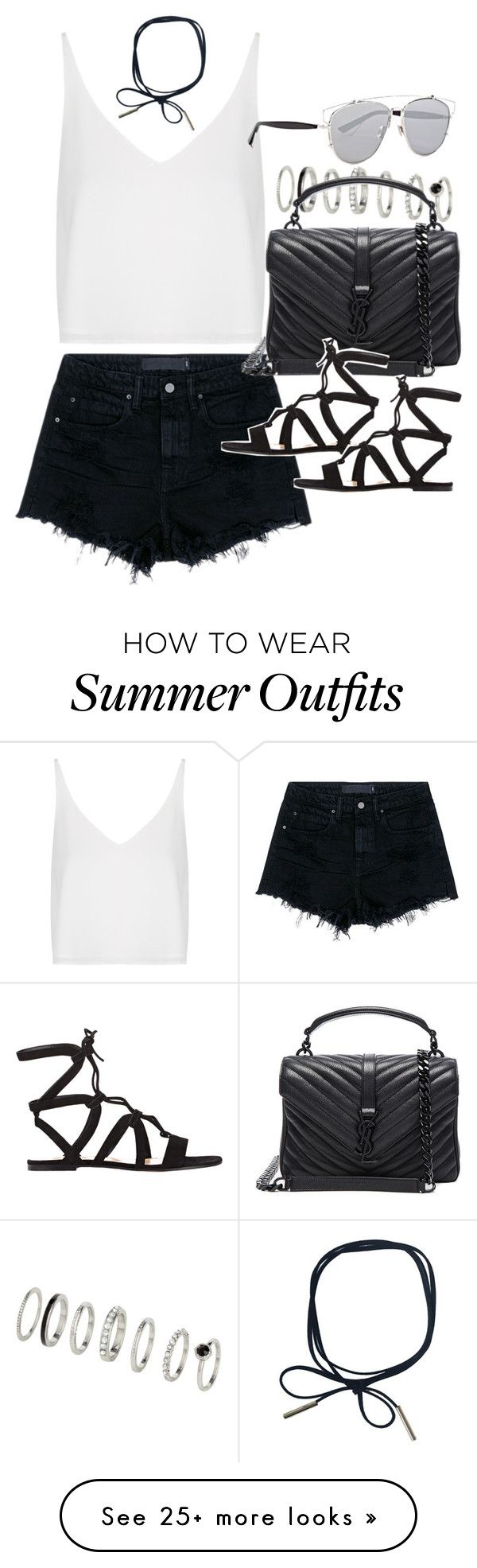 """""""Outfit for summer with black shorts"""" by ferned on Polyvore featuring ..."""