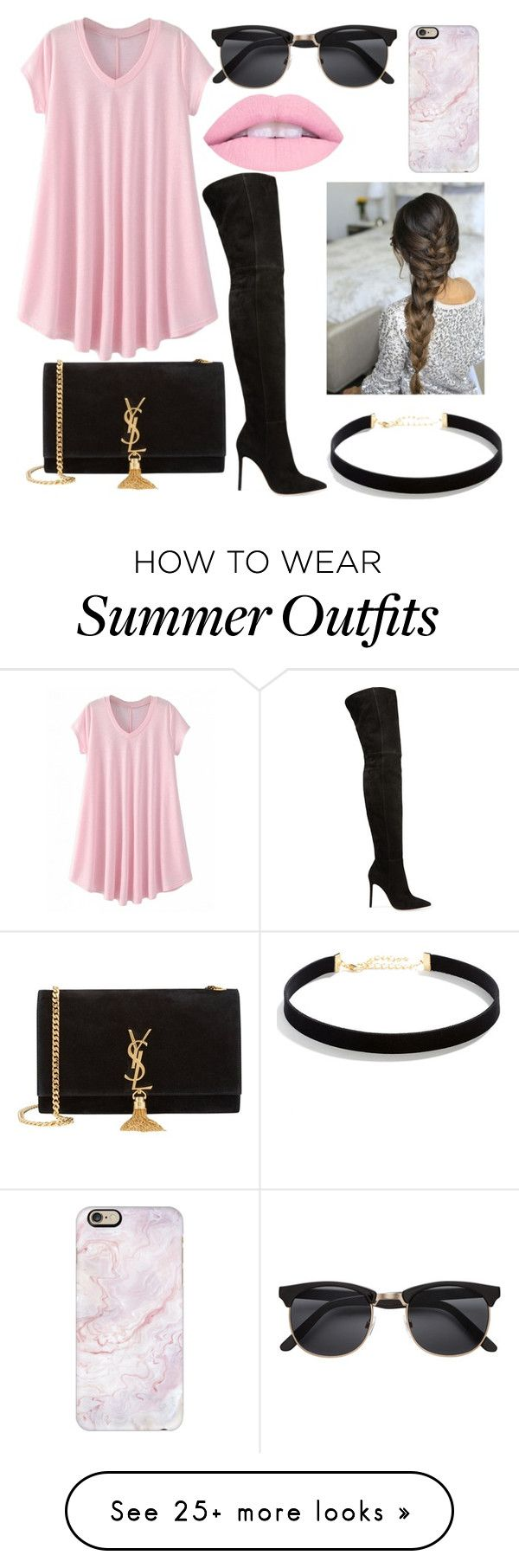 """""""Pink day outfit """" by baby-x-kate on Polyvore featuring Gianvito Rossi..."""