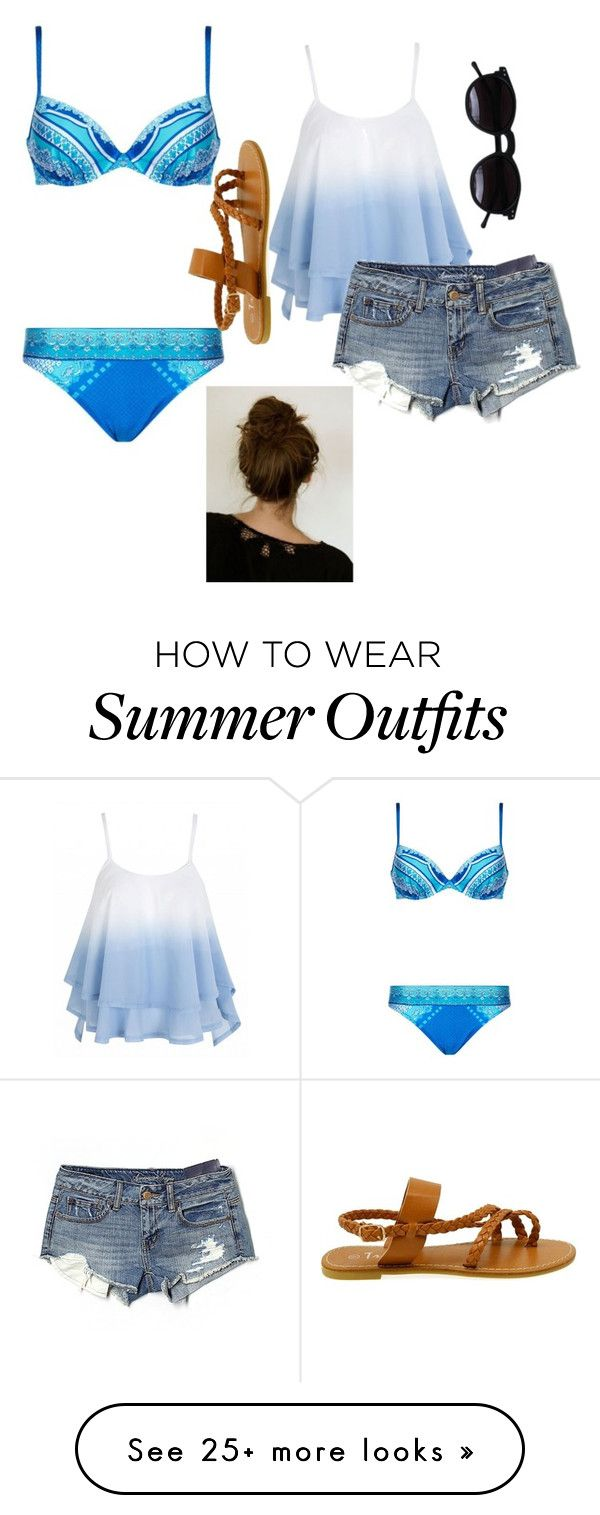 """""""Summer beach outfit"""" by ycabrales on Polyvore featuring Gottex, Ameri..."""