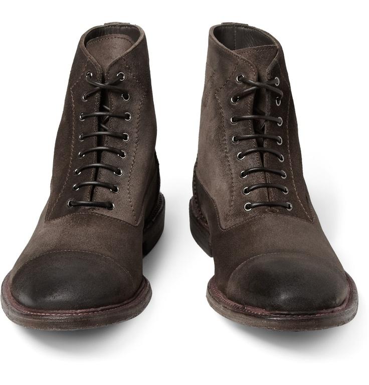 Alexander McQueenContrast-Welt Washed-Suede Boots