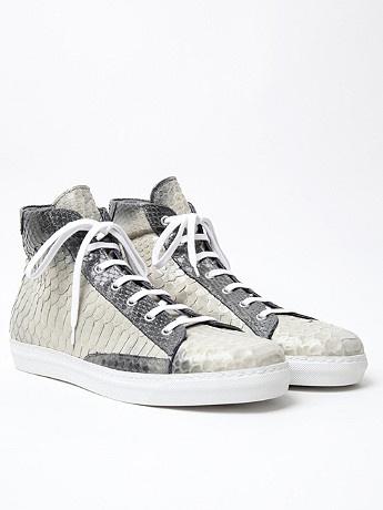 Alexander McQueen Men's Python Skin High Top in grey