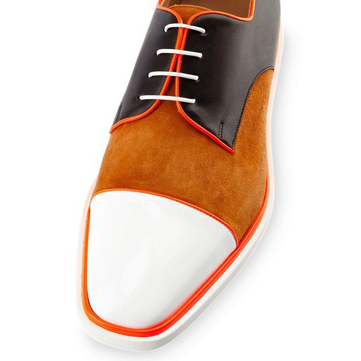 Christian Louboutin bruno orlato mens flat white fauve patent leather...
