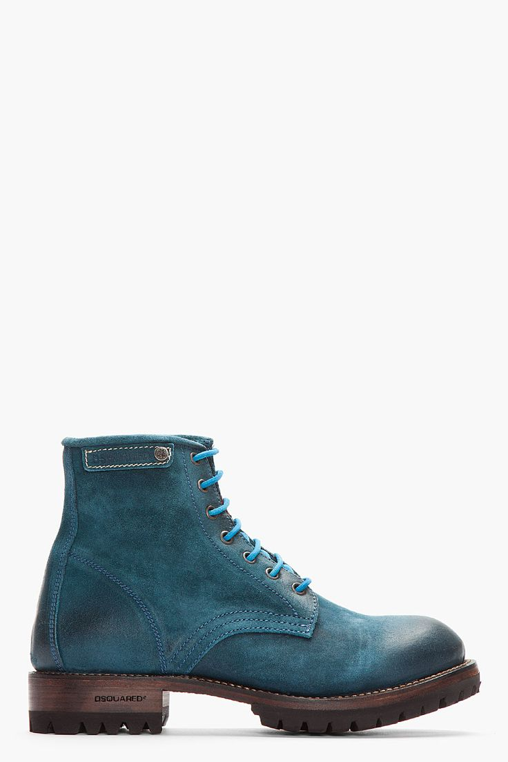 DSQUARED2 Teal Brushed Leather Hiking Boots
