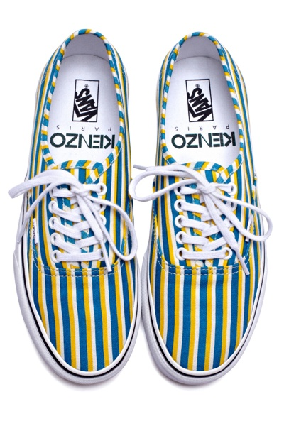 KENZO X VANS PRINT SNEAKERS in blue/gold stripe