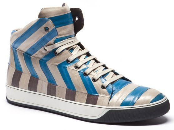 Lanvin eel patchwork bluewhite mid sneakers