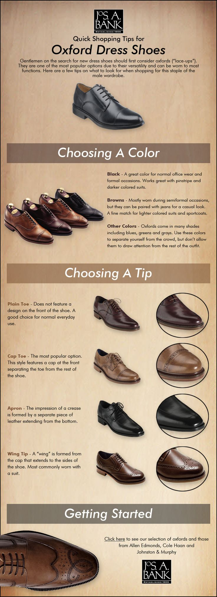 Looking for new dress shoes? Here are a few tips on shopping for oxfords.