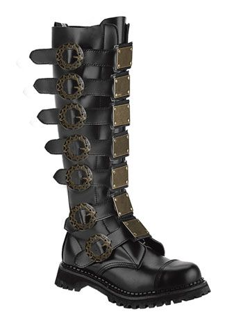 Mens Black Leather Steampunk Boot...