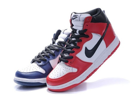 Nike Dunk High Tops Premium White Navy Red Fragment Design Logo