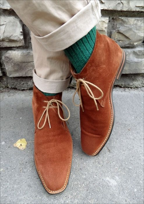 turquoise sock, caramel boot....