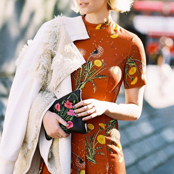 rust colored dress...