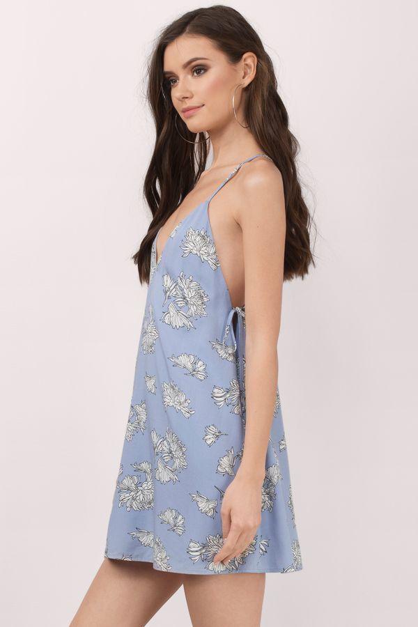 Caprice Blue Print V-Neck Shift Dress