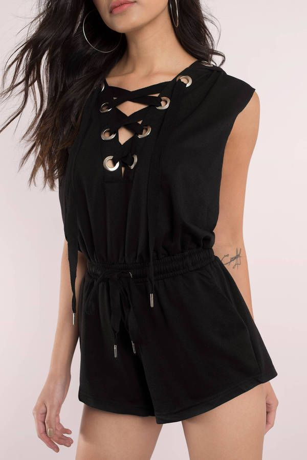 Lace Up For It Romper Hoodie
