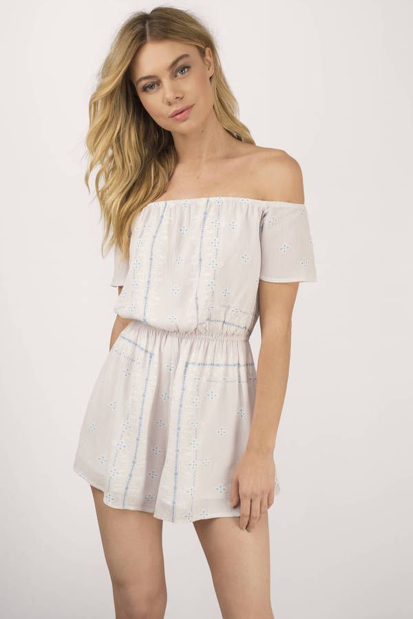 "b8de6aabcde2 Search ""Out All Day Tunsian Scarf Print Off Shoulder Romper"" on Tobi.com! cold  shoulder playsuit patterned cream white short sleeve mini  ShopTobi   fashion ..."
