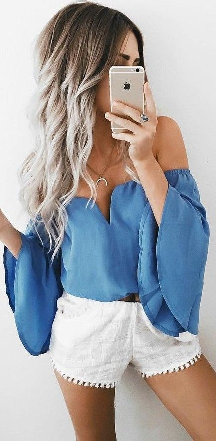 #summer #girly #outfits |  Blue + White...