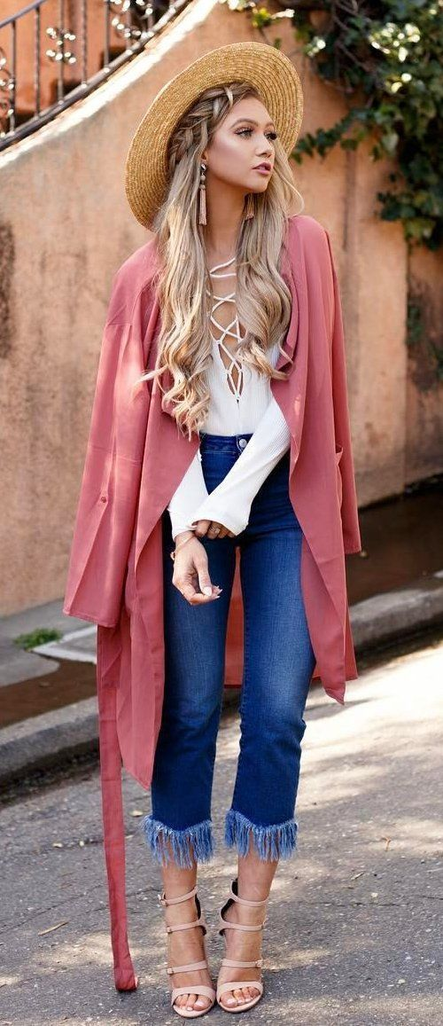 #summer #outfits Light Hat + Pink Kimono + White Lace-up Top + Navy Fringe Jeans...