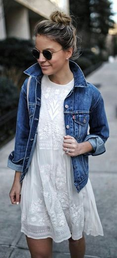 white dress with jean jacket...